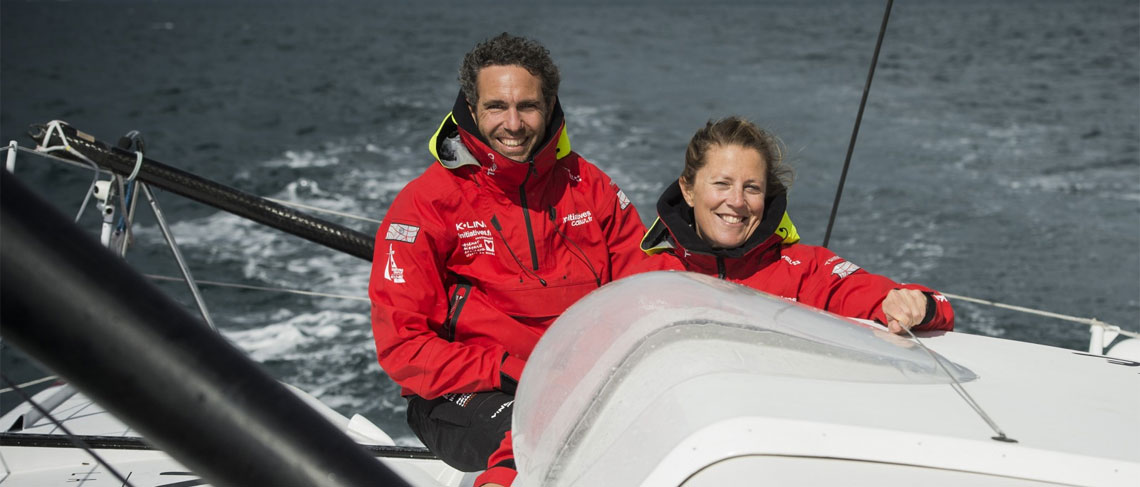 Samantha Davies and Tanguy de Lamotte, on course for Barcelona